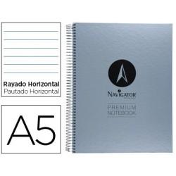 Caderno espiral navigator microperfurado a5 80 folhas pautado papel de 90grs