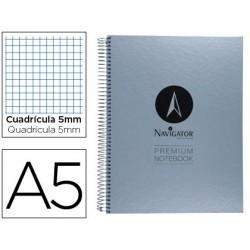 Caderno espiral navigator microperfurado a5 80 folhas quadriculado papel de 90grs