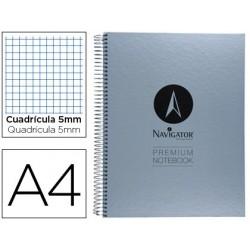 Caderno espiral navigator microperfurado a4 80 folhas quadriculado papel de 90grs