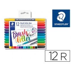 Marcador staedtler 3004 dupla ponta para hand lettering estojo de 12 unidades cores sortidas