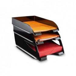 Tabuleiro de secretaria cep plastico 100% reciclada de grande capacidade cor preta conjunto de 3 unidades 386x270x115 mm