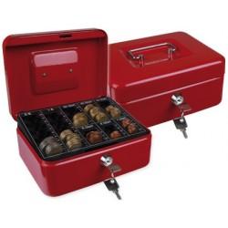 Cofre com bandeja para moedas q-connect 200x90x160 mm vermelho