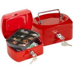 Cofre com bandeja para moedas q-connect 152x80x115 mm vermelho