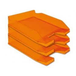 Tabuleiro de secretaria q-connect plastico laranja transparente