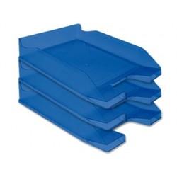 Tabuleiro de secretaria q-connect plastico azul transparente