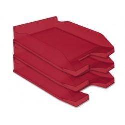 Tabuleiro de secretaria q-connect plastico vermelho transparente
