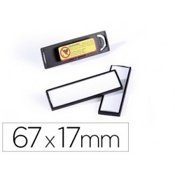 Identificador durable pvc magnetico com efeito lupa cor preta 67x17 mm