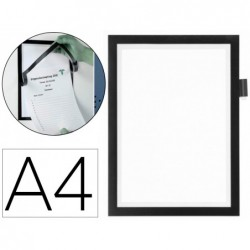 Moldura porta anuncios durable magnetico din a4 com suporte para esferografica dorso adesivo removivel cor preta