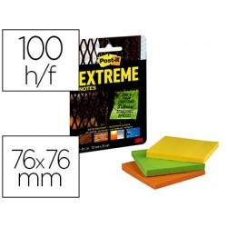 Bloco de notas adesivas post-it extreme 76x76 mm com 45 folhas pack de 3 unidades amarelo laranja e verde