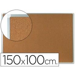 Quadro de cortica q-connect caixilho de aluminio 150x100cm extra cortica 5 mm