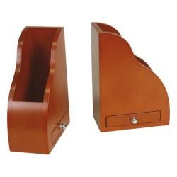 Jogo 2 suportes para livros em madeira com gaveta
