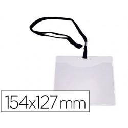 Identificador q-connect com cordao plano preto a6 154x127 mm abertura superior