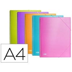 Capa catalogo elba urban din a4 com espiral plastico 40 bolsas polipropileno com elastico cores sortidas
