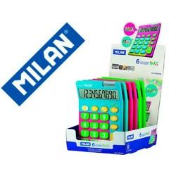Calculadora milan mix 10 digitos expositor de 6 unidades cores sortidas