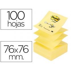 Bloco de notas adesivas post-it amarelo. 76 x 76 mm