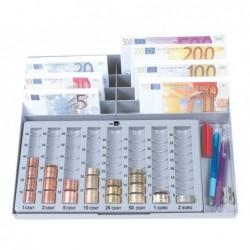 Tabuleiro q-connect classificador de moedas e notas euro