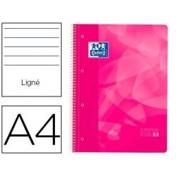 Caderno espiral oxford europeanbook1 capa polipropileno din a4 pautado 90g 80f rosa