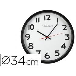 Relogio q-connect de parede redondo em plastico diametro 35 cm aro preto