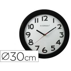 Relogio q-connect de parede redondo em plastico diametro 30 cm aro preto