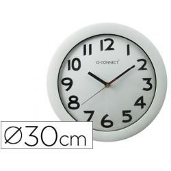 Relogio q-connect de parede redondo em plastico diametro 30 cm aro cromado