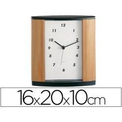 Relogio de escritorio century imitacao de madeira e preto 16 x 20 x 10 cm