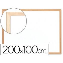 Quadro branco q-connect 200x100 cm com caixilho de madeira