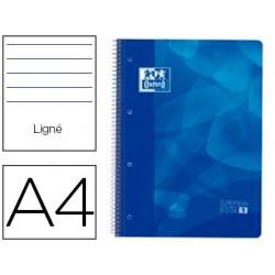 Caderno espiral oxford europeanbook1 capa polipropileno din a4 pautado 90g 80f azul
