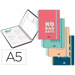 Agenda escolar liderpapel 20-21 classic din-a5 bilingue un dia pagina espiral cierre con goma