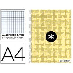 Caderno espiral liderpapel a4 micro antartik capa forrada 120f 100 gr quadricula 5 mm 5 bandas 4 furos trending cor amar