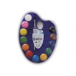 Aguarela liderpapel 12 cores com pincel e deposito inclui palete de plastico