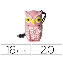 Pen drive techonetech flash drive 16 gb 2.0 buho plumi pink