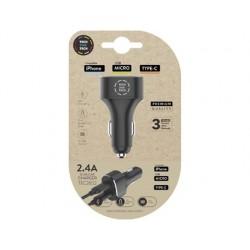 Carregador tech one tech 2.4 carro duplo para iphone / usb micro / type-c cor preto