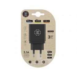 Carregador tech one tech 3.1 parede triplo para iphone / micro usb / type-c cor preto