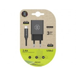 Carregador tech one tech 2.4 duplo usb + cabo braided nylon micro usb android comprimento 1 mt cor preto