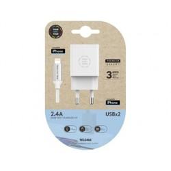 Carregador tech one tech 2.4 duplo usb + cabo braided nylon micro usb apple comprimento 1 mt cor branco