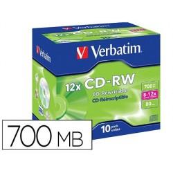Cd-rw verbatim serl capacidade 700mb velocidade 12x 80 min pack de 10 unidades