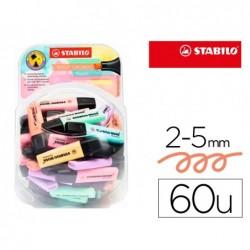 Marcador stabilo boss fluorescente 70 pastel expositor boiao de 60 unidades cores sortidas