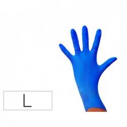 Luva de nitrilo descartavel sensivel sem po tamanho l grande cor azul caixa de 100 unidades