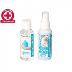Gel hidroalcoolico higienizante pack bacterigel frasco spray 60 ml + desinfetante de superficies e mobiliario germosan f