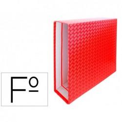 Caixa para pasta de arquivo de alavanca cartao forrado elba folio lombada 85 mm vermelho