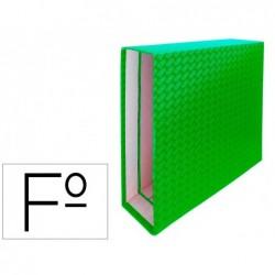 Caixa para pasta de arquivo de alavanca cartao forrado elba folio lombada 85 mm verde