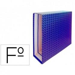 Caixa para pasta de arquivo de alavanca cartao forrado elba folio lombada 85 mm azul