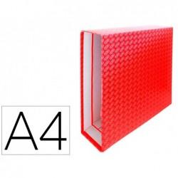 Caixa para pasta de arquivo de alavanca cartao forrado elba din a4 lombada 85 mm vermelho