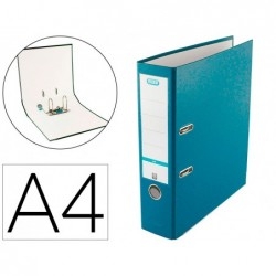 Pasta de arquivo de alavanca elba top cartao compacto polipropileno com rado din a4 lombada de 80 mm turquesa
