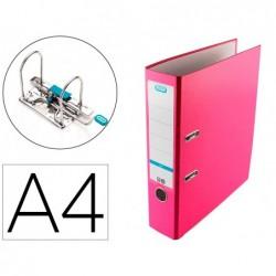 Pasta de arquivo de alavanca elba top cartao compacto polipropileno com rado din a4 lombada de 80 mm rosa