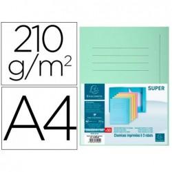Classificador cartolina com 3 abas exacompta din a4 impresa verde claro 210 gr