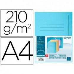 Classificador cartolina com 3 abas exacompta din a4 impresa azul claro 210 gr