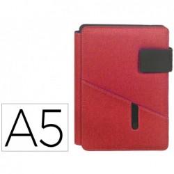 Porta notas carchivo venture din a5 com suporte para smartphone caderno cor vermelho