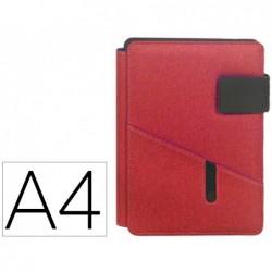 Porta documentos carchivo venture din a4 com suporte para tablet bolso e bloco cor vermelho