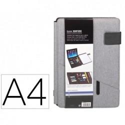 Porta documentos carchivo venture din a4 com suporte para tablet bolso e bloco cor cinza